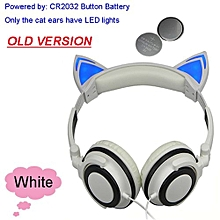 Foldable Flashing Glowing Cat Ear Headphones Gaming Headset Earphone With LED Light For PC Laptop Computer Mobile Phone White