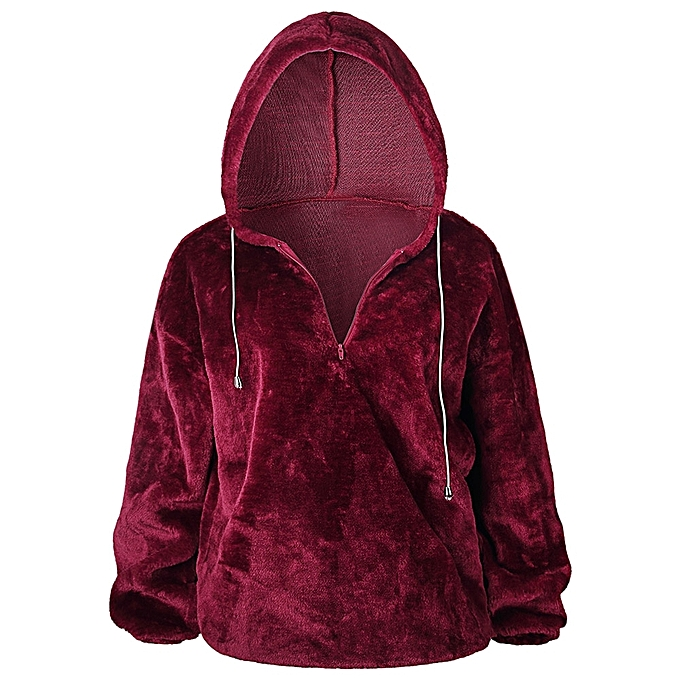 e7917aa580098 Fashion Leadsmart Hooded Long Sleeve Faux Fur Solid Color Zipper Loose  Women Hoodie