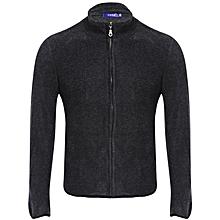 Casual Male Wool Coat - Deep Grey