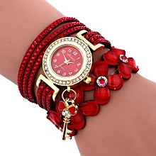 Olivaren Fashion Chimes Diamond Leather Bracelet Lady Womans Wrist Watch -Red