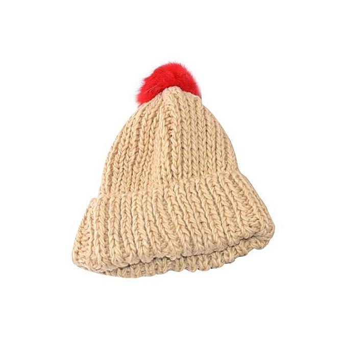 0082fe9c056 Fashion Women Winter Hats Knit Warm Beanie Hat Knitted Wool Hemming Hat KH