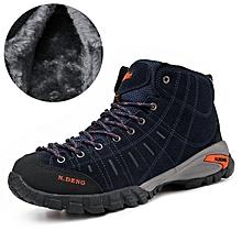 Winter Fleece Men Outdoor Hiking Mountain Shoes Leather Men Climbing Trekking Shoes Warm Up - Blue