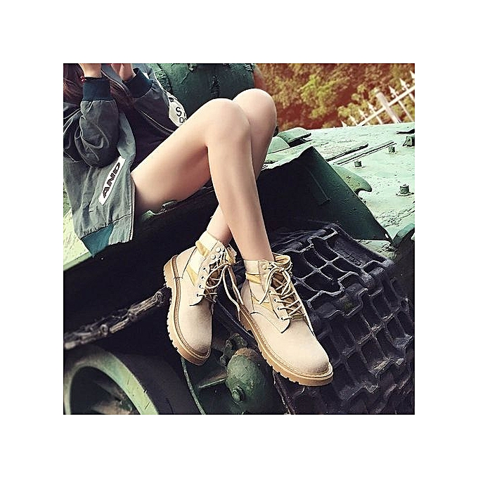4282e09ecf81 bluerdream-Women Fashion Lace Up Low Heel Round Toe Warm Winter Martin Ankle  Boot Shoes