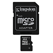 8GB MicroSDH Memory Card With Adapter - Black