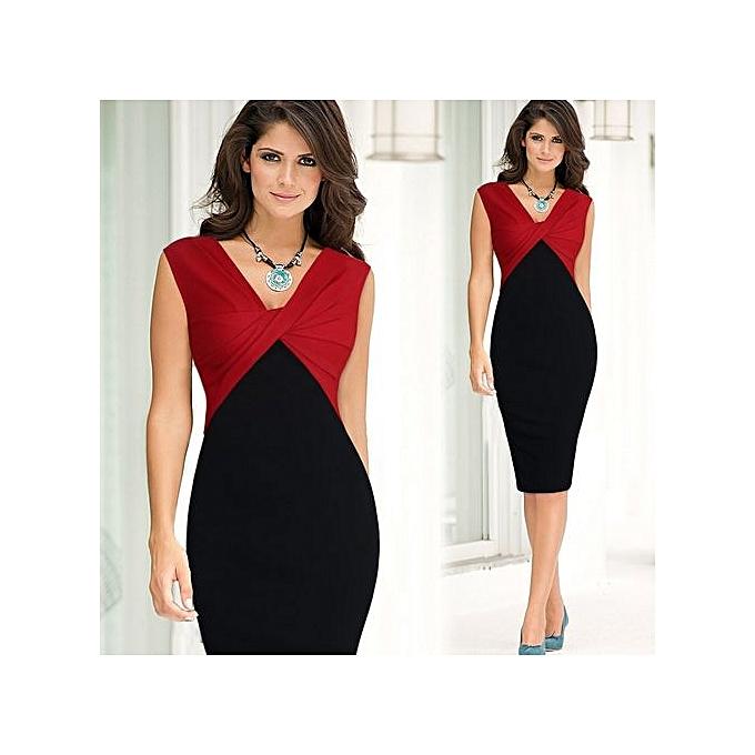 Women Office Dress Hips Wred Back Split Y Business Bodycon Pencil Red