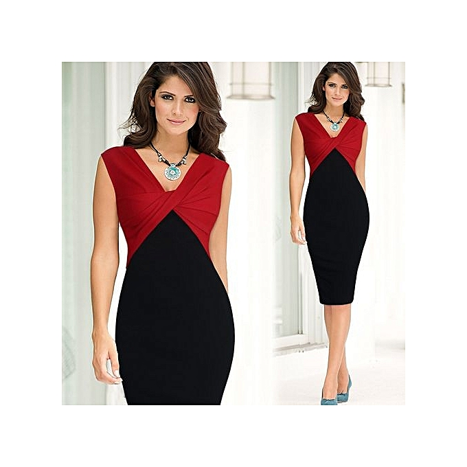 e8471b36a0a Women Office Dress Hips-Wrapped Back Split Sexy Business Bodycon Pencil  Dress-red