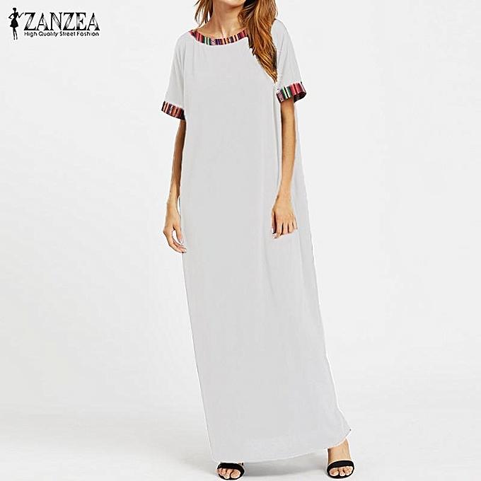 404bd70a3f2 ZANZEA Women Crew Neck Embroidery Long Maxi Shirt Dress Summer Short Sleeve  Casual Loose Kaftan Vestido