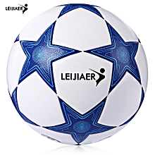 LEIJIAER Size 5 Star TPU Anti-slip Competition Soccer Ball Football-BLUE AND WHITE