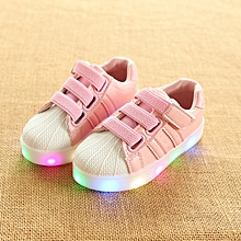 Baby unisex LED shining shell magic sticker sneaker pink