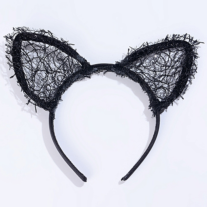Eissely Sexy Black Lace Headband Bright Net Cat Ears   Best Price ... 426b1d27740