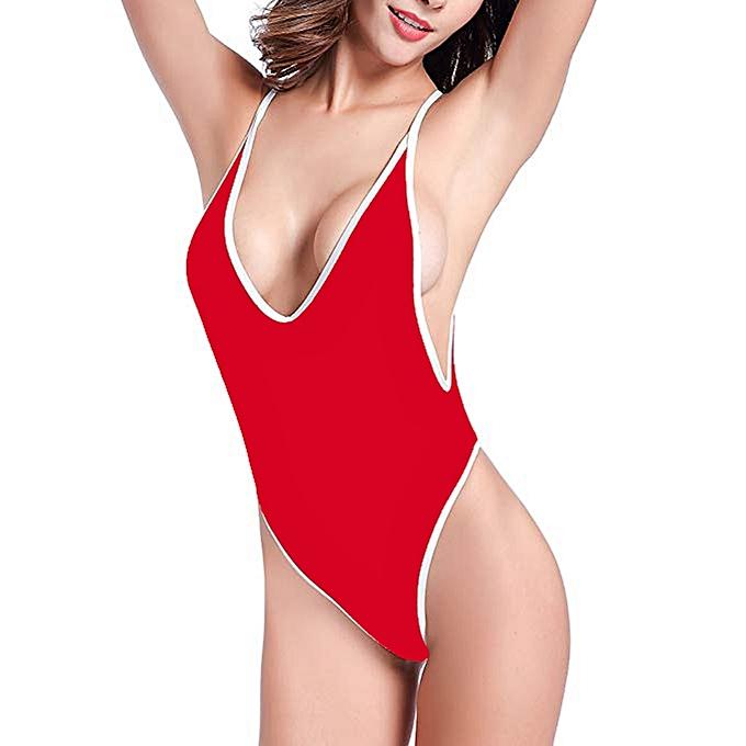 10f311dfcf New Deep V Neck Swimsuit Women Backless Bathing Suit Sexy Low Cut Swimwear  6-14