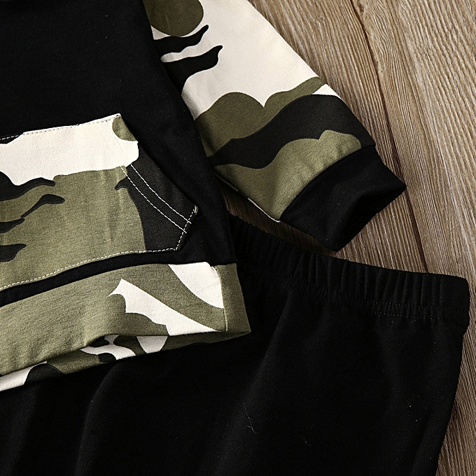 879b219ce Generic 2Pcs Toddler Infant Baby Boy Clothes Set Camouflage Hooded ...