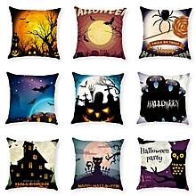 Halloween Terror Pumpkin Bat Owl Pattern Pillowcase Cotton Linen Throw Pillow Cushion Cover