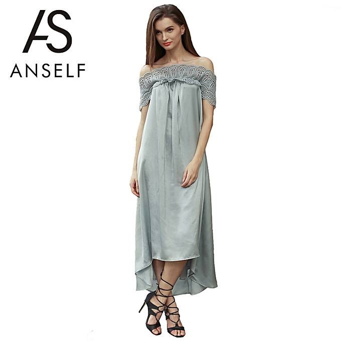 b29e5e514404 New Fashion Women Midi Dress Off Shoulder Lace Splice Short Sleeve Solid  Loose Party Long Dress