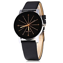 Smart Ladies Quartz Watch Line Dial Leather Band-black
