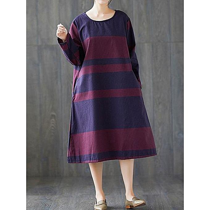 4dfd55ed4ea7 Fashion Casual Women Loose Cotton Linen Striped Long Sleeve O-Neck ...