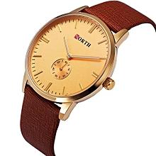 Blicool Wrist Watch NORTH Stainless Steel Leather Men's Business Quartz Wrist Watch Gold-Gold