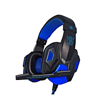 PC780 Casque audio PC Gaming Headphone with Mic Stereo Bass(Blue Black)
