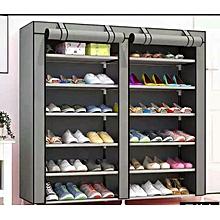 2 Column Portable Shoe Rack - Grey