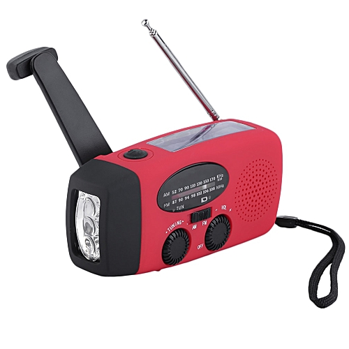 New Protable Solar Radio Hand Crank Self Powered Phone Charger 3 LED  Flashlight AM/FM/WB Radio Waterproof Emergency Survival Red