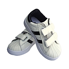 Sneakers Unisex Baby Boy Rubbers Casual Shoes Girl For Kids- Black/White