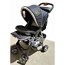 Superior Baby Stroller/ Foldable Pram Portable Baby Stroller With Universal Casters- Black