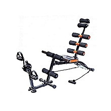 Multifunction Abdominal Six Pack Care Bench With Pedals- Black and Orange.