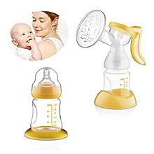 Yellow 150ML  Manual Breast Pump Feeding Pump Baby Milk Silicon With Milk Bottle