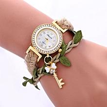 Women Ladies Casual Leaves Braided Rope Strap Quartz Wrist Watch WH