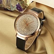 Fashion Women Leather Casual Watch Luxury Analog Quartz Crystal Wristwatch-Black