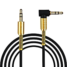 Fovibery 3.5mm Jack Audio Cable Male To Male 90 Degree Right Angle Aux Cable BK