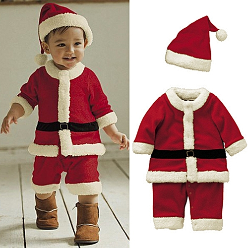 edd2d0d02 Fashion New Boys 4PCS Christmas Santa Claus Suit Brand Top Quality Boys  Christmas Costume Suit Kids New Year Clothing Set