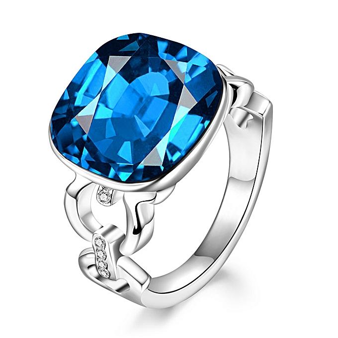 dc9c306c5407e Platinum square deep blue diamond ring for men and women-Platinum > No.6