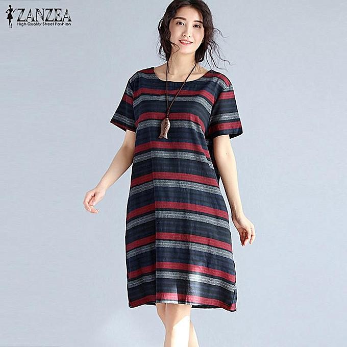 66af572c2f965 ZANZEA Womens Summer Retro Striped Casual Loose Knee-Length Dresses Cotton  Linen Crew Neck Short
