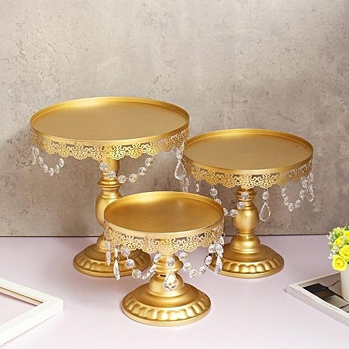 """3Pcs/Set Cake Stand Crystals 8/10/12"""" Round Metal Wedding Party Display Tower Gold"""