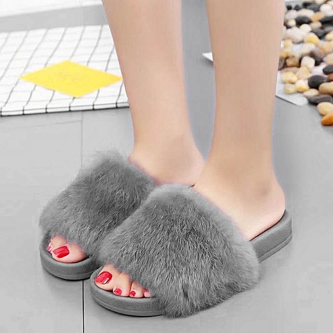 f971da385ad ... Womens Flat Non-slip Soft Fluffy Faux Fur Flat Slipper Flip Flop Sandal  GY
