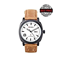 Tan Sports Waterproof - Leather Strap Wrist Watch - [1839] - White Dial Watch
