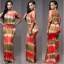 Refined Women's Leisure Dress One-piece Dress Wrap Chest Sexy Long Dress Off Shoulder Ggradual Color Printing Dress