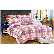 Duvet Cover 100% Cotton Pink Checked