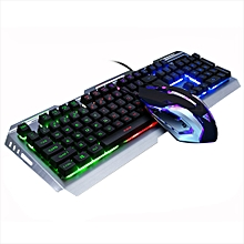 huskspo Gaming Keyboard Mechanical Keyboard and Mouse V1 104 Key USB Wired RGB LED Backl