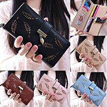 Women Wallets Leaf Bifold Wallet Leather Clutch Women Card Holder Purse Lady Long Handbag Blue