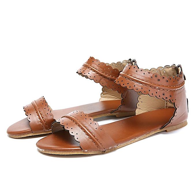 edf25cdf4e4be Fashion Women Roman Non-slip Thong Sandals Flat Heels Rome Flower Summer  Shoes ...