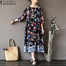 ZANZEA Women Summer 3/4 Sleeve Long Shirt Dress Retro Ladies Floral Printed Tunic Casual Loose Kaftan Vestido Plus Size L-5XL (Black)