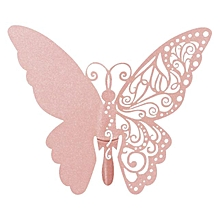 New 50 Pcs Butterfly  Wine Glass Paper Card for Wedding Party -Pink