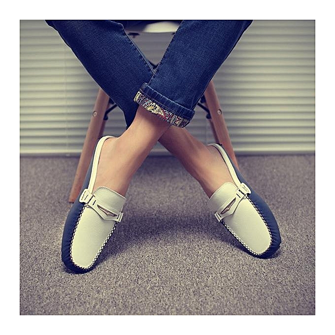 b59ee916396 Fashion Men British Style Color Blocking Flat Slip On Casual Backless  Loafers-EU