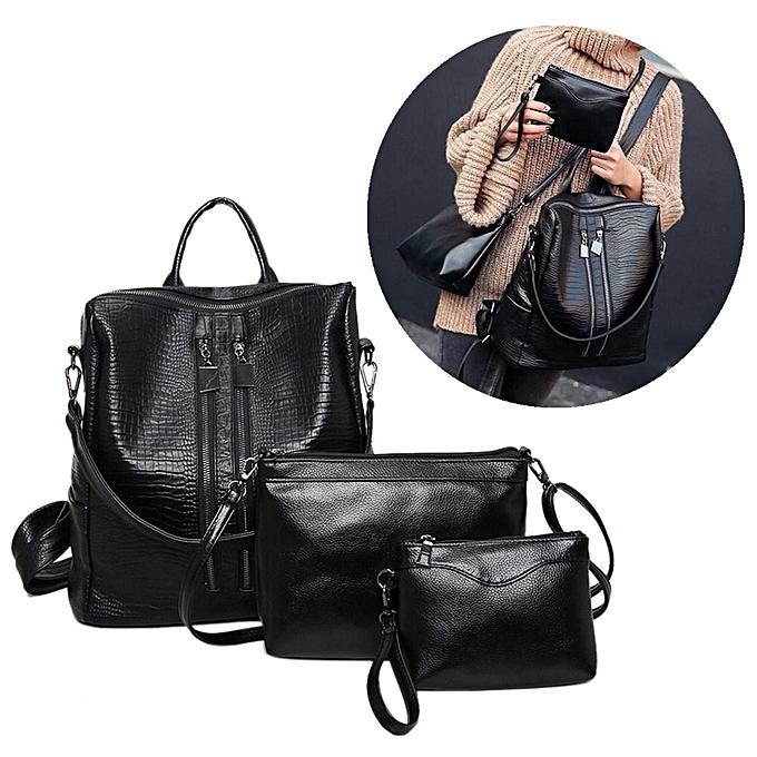 Buy Generic 3pcs Women Leather Travel Backpack School Shoulder
