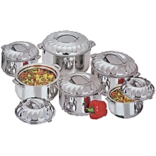 6 Piece Stainless Steel Food Server Hot Pots Set Casserole -Silver