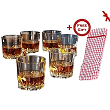 Whiskey Glasses Set - 6 Pcs (+ Free Gift Hand Towel).