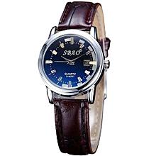 SBAO Fashionable New Couple Trends Calendar High-grade Business Belt Watch    - Black