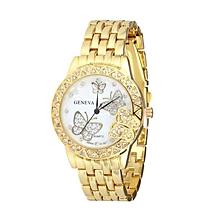 guoaivo Exquisite Luxury Women Man Diamond Butterfly Quartz Watch Wrist Watch GD -Gold